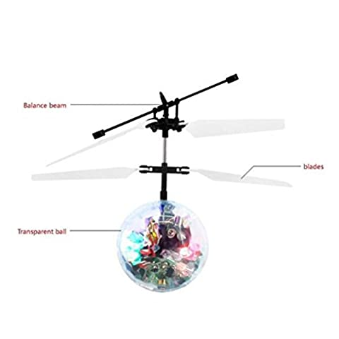 Mini Flying RC Ball, KEERADS Crystal Hand Suspension Helicopter Aircraft Infrared Sensing Induction Flying Ball Drone Toy Colorful LED Lighting Flashing for Kids (White)