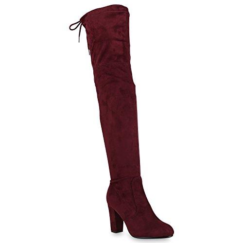 Damen Stiefel Overknees Wildleder-Optik Blockabsatz Langschaftstiefel Boots Schleifen Schuhe 146433 Dunkelrot 41 Flandell
