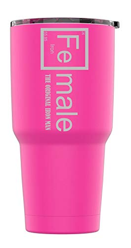 Stainless Steel Powder Coated 30 oz Tumbler Splash Proof Lid 2 Straws, Triple Wall Vacuum Insulated, Mug Coffee Cup Travel, Camping, Work, Gym Hot Cold Drinks (Pink, Fe-Male Iron Man)