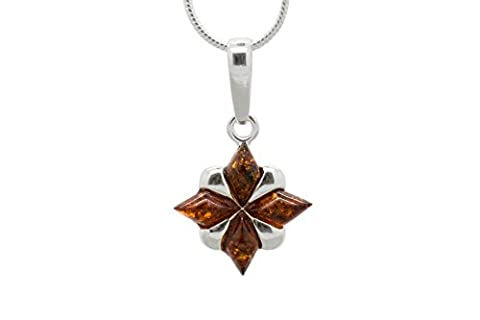 925 Sterling Silver Pendant Necklace North Star with Genuine Natural