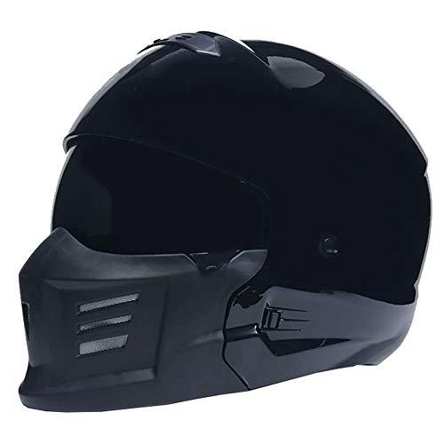 QPFH ECER 22-05 Certified Motorcycle Modular Helmet Integralhelm, ATV Dirt Bike Motorradhelm, Schutzausrüstung für Erwachsene Fahrer,Glossyblack,M