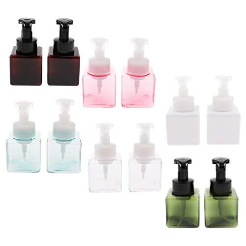 FLAMEER 12 Stücke 250 ML Leere Quadratische Plastikschäumende Flasche Mit Pumpe, Emulsion / Duschgel / Shampoo Conditioner Vorratsbehälter Glas (Schäumende Flüssigseife Pumpe)