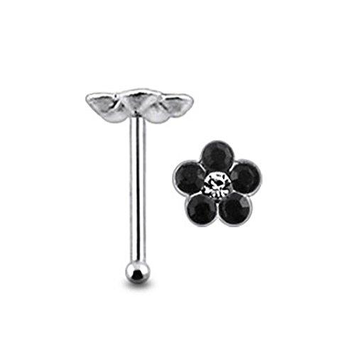 Blume Multi Black Crystal Stein Top 22 Gauge 925 Sterling Silber Nase Knochen Stud Piercing