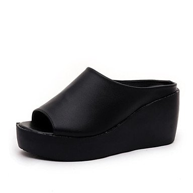 RUGAI-UE Estate Moda Donna Sandali Casual PU scarpe tacchi comfort,Champagne,US5.5 / EU36 / UK3.5 / CN35 Black