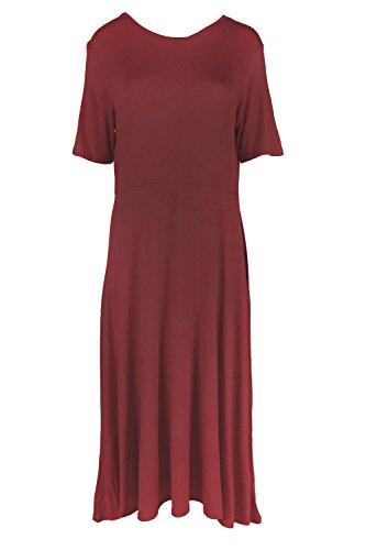Damen Kurze Flügelärmel Midi Damen Einfarbig A-Line Skater Swing Tee Länge Ausgestellt Top Kleid Wein