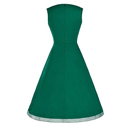 Dabag - 2017 Couleur pure ou rétro impression sans manches Hepburn style taille serrée jupe plissée collet carré genou longueur robe swing (M, Orange) vert foncé
