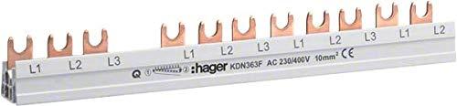 Hager KDN363F Phasensch. 3P+N 63A 10qmm 12 Einh.Gabelanschluss isoliert grau