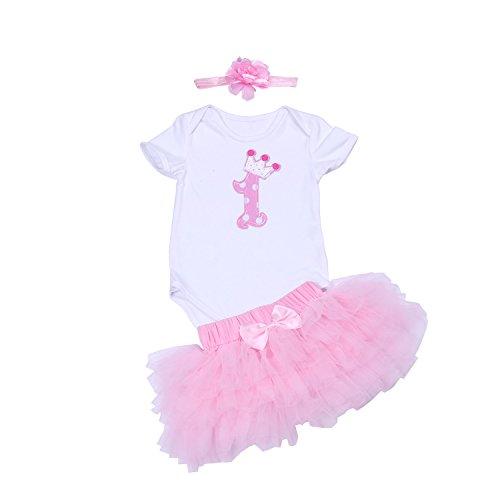 BabyPreg Baby Mädchen 1. Geburtstag Tutu mit Stirnband Set (XL/12-18 Monate, Rosa) (12 Mädchen Monate Geburtstags-outfit)