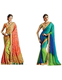 Mantra Fashions Women's Georgette Saree (Mant31_Multi)-Pack of 2