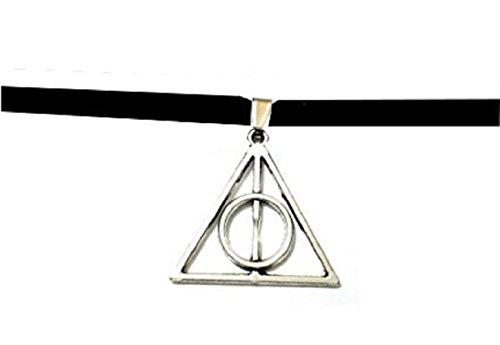 Collar con colgante de símbolo Harry Potter triángulos y círculo
