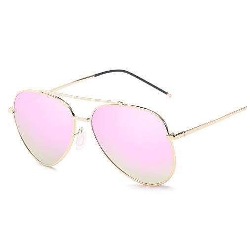 Big Metal Round Frame Pilot Rahmentyp Übergröße Fashion Classic Frog Mirror UV400 Objektiv Unisex polarisierte Sonnenbrille Sonnenbrillen und flacher Spiegel ( Color : Rosa , Size : Kostenlos )