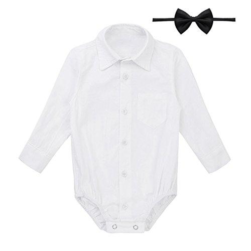 Tiaobug Baby Hemd-Body Langarm mit Kragen Strampler Baby-Jungen Hemd festlich Bodysuit Anzug Hemd für Hochzeit Taufe Geburtstag Geschenk Sommer Kleidung Weiß mit Fliege 92/Brustumfang 60cm -