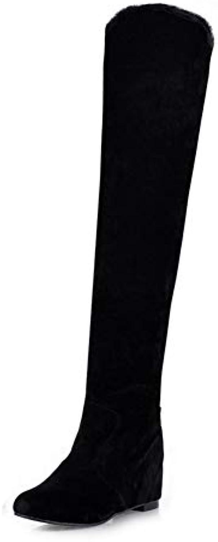 Ai Ya-xuezi 34-43 l'augmentation Femme Talons Bottes Femme l'augmentation Chaussures Loisirs Flock Noir Gris Au-Dessus du Genou Bottes... afb5d1