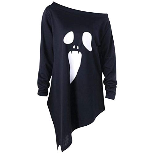 wnddm Halloween Scary Ghost Face Trick Kostüm Erwachsene Frauen Terror Slope Top Loose Shirt Kleid Horror Für Lady Girls Weiß Schwarz@Schwarz_S (Terror Kostüm Für Erwachsene)