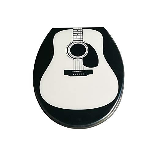 he Gitarre Toilettendeckel Mit Langsamer Harnstoff-Formaldehyd-Harz Ultra Resistant Top Fixed U/V/O-Form Kompatibler WC-Sitzbezug Toilettensitze,Black-40~48cm*33~38cm ()