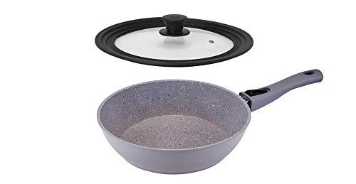 culinario Hochrand Bratpfanne Ø 26 mit Universaldeckel, Abnehmbarer Griff, Non-Stick-Beschichtung, Deckel für Ø 20/24/28 cm geeignet, Granitoptik