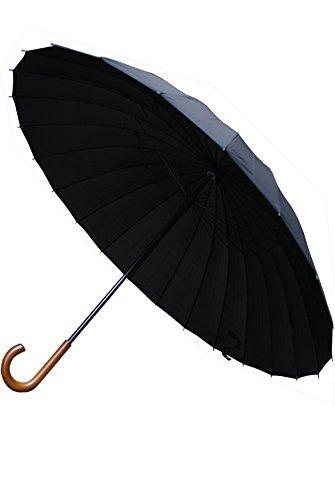 Collar and Cuffs London - 24 Rippen für Mehr Widerstandskraft - Sehr STARK - Dreifache Schicht Rahmen - Verstärkt mit Fiberglas - Stockschirm - Windproof Regenschirm - Holzgriff Holz - Schwarz