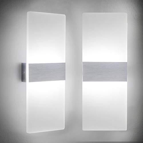 Lámpara de pared Interior 12W Moderna Apliques de Pared Blanco Frío,6000K Moda Agradable Luz de Ambiente...