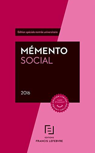 MEMENTO SOCIAL ETUDIANT 2016 par Francis Lefebvre