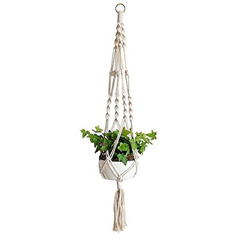 LAAT Suspension Plante Macramé Plant Hanger à la Main Corde Fleur Pot Plante Suspendue Porte-Panier Holder avec Porte-clés (18 * 20cm)