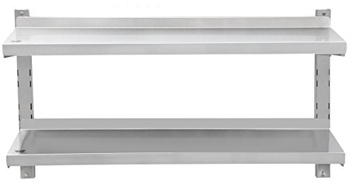 Beeketal 'BWR-5' Gastro Edelstahl Küchen Wandregal 1000 mm Länge x 320 mm Tiefe, 2 Ablageflächen mit je 35 kg Tragkraft, rückseitige Aufkantung, 4-fach höhenverstellbar, inkl. Wandmontagematerial