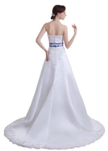 GEORGE BRIDE - Robe nuptiale ¨¦l¨¦gante sans bretelles perl¨¦e en satin avec reins bleus ¨¤ tra?ne Chapel Blanc