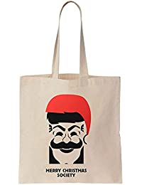 Finest Prints Merry Christmas Society Mask Christmas Design Cotton Canvas Tote Bag