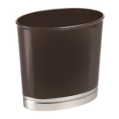 Mdesign cestino spazzatura da bagno – elegante bidone della spazzatura ovale o contenitore cosmetici – in plastica robusta con finitura spazzolata – marrone scuro/argento