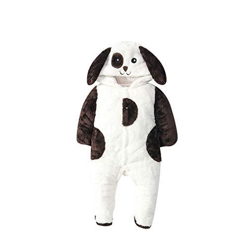 JEELINBORE Baby Junge Mädchen Spielanzug Plüsch Langarm Overalls Herbst & Winter Strampler Onesies Tier Kostüme mit Kapuze (Braun Welpe (Verdicken), 66CM)