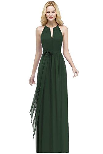Misshow Chiffonkleid A Linie Abendkleid Elegant Hochzeit Festlich Partykleid Lang