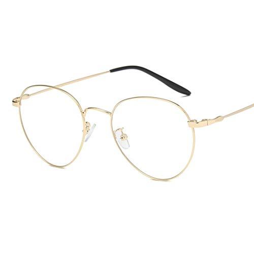Shiduoli Unisex Retro-Runde Brille Rahmen klare Linse Gläser Nicht verschreibungspflichtige Brillen für Frauen (Color : Gold)
