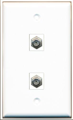 RiteAV-1x Kabel, Koaxial- und 1x TV Kabel TV Koax 2Port Wall Plate Weiß Kabel-tv Wall Plate