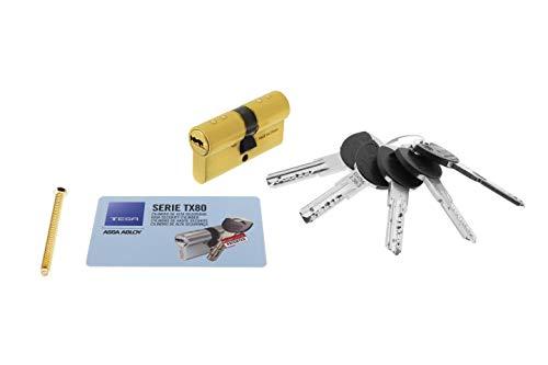 Tesa Assa Abloy, TX853030L, Cilindro de Alta Seguridad, TX80, Doble Embrague, Leva Larga, Llave - Llave, Latonado, 30 x 30 mm