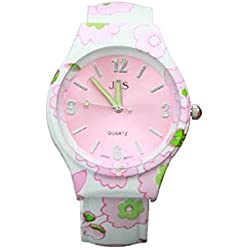Ladies Floral Pattern Pink & Green Beautiful Round Face Bracelet Bangle Watch