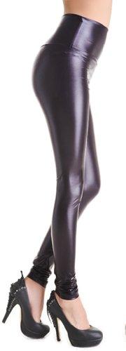 TDOLAH Damen Kunstleder High Waist Leggings Taillenhoch Strumpfhosen mit Farbwahl Lila