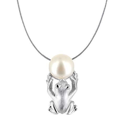 Drachenfels Luxus Anhänger aus der Kollektion Froschkönig in Echtsilber | Anhänger Silber 925 Sterling nickelfrei | Eleganter Froschkönig Anhänger für Damen