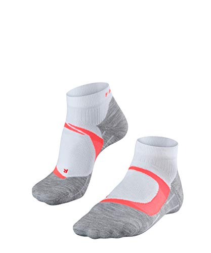 FALKE Damen RU4 Cool Short Runningsocken, White-Neon red, 37-38 - Feuchtigkeitstransport Cool Mesh Polyester