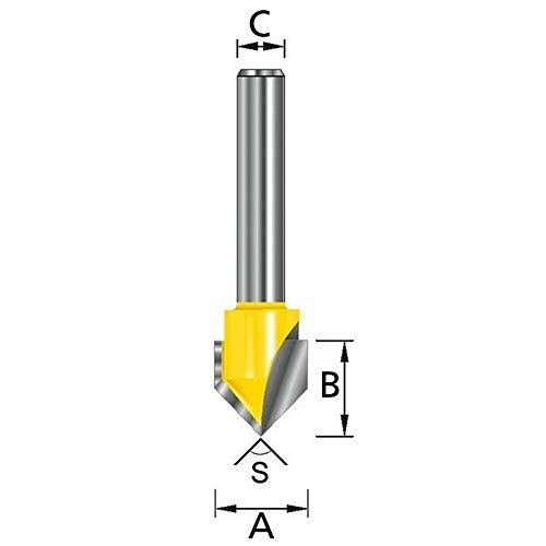 Makita d-10693-Fräser für Holz in V Clip (C) 8mm (A) 15.9mm (B) 12,7mm (E) 90Grad