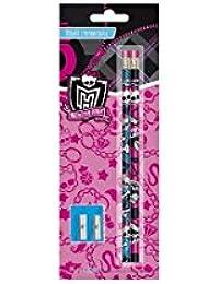 Monster High - lot de 4 crayons à papier avec + taille crayon