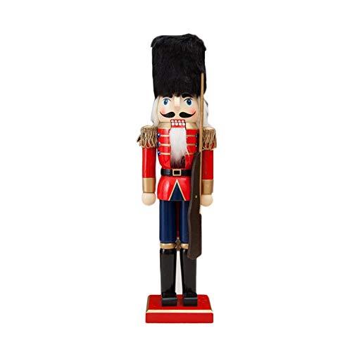 SUNSETGLOW Holzsoldat Nussknacker Puppe Weihnachtsschmuck 38 cm Zinn Spielzeug Dekorative Anhänger Restaurant Porch Raum Kleine Ornamente Puppen Figuren Puppen Spielzeug (Dekorativen Weihnachtsschmuck)