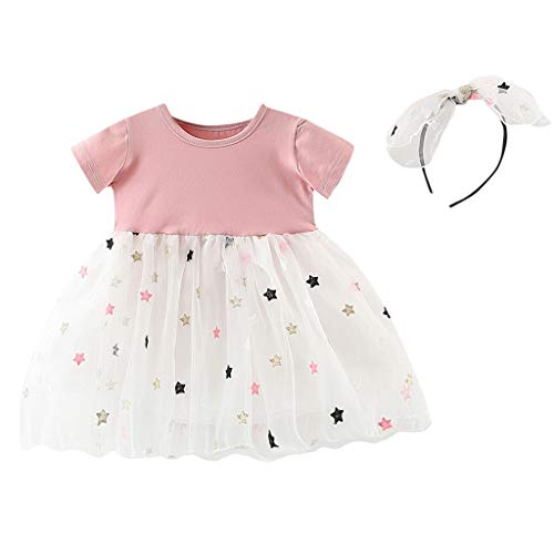 erthome Baby Outfits, Baby Mädchen Kleidung Bogen Gestreiften Tops + Tutu Rock Set (Rosa, 6-12 Monate) - 3-monats-baby-kleidung