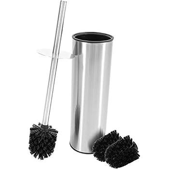 Cleanpuls WC-B/ürste mit Beh/älter Toilettenb/ürsten Edelstahl 1er Set wei/ß mit schwarzer B/ürste WC-B/ürste mit Beh/älter 1er Pack Klob/ürste