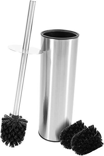 Bamodi Klobürste mit Behälter Edelstahl - Toilettenbürste montagefrei zum Aufstellen inklusive 2 Ersatzbürsten - WC Bürste mit Spritzschutz für trockene Hände