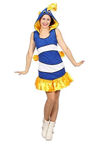 Wilbers Damen Kostüm tropischer Fisch blau-weiß Karneval Fasching ()