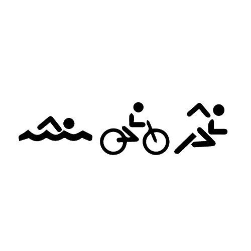 KGTHSS Triatlón Swim Bike Run Dibujos Animados Mode Vinilo Interruptor de luz Pintado Pegatinas 5ws0482