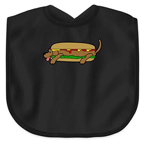 SPIRITSHIRTSHOP Lustiges Hot Dog/Heißer Hund Fast Food Design Für Esssüchtige - Baby Lätzchen -Einheitsgröße-Schwarz