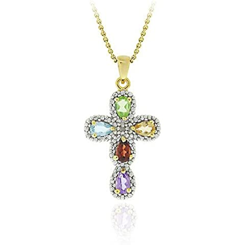 18 K oro accento in argento Sterling Multi Gemstone & diamante croce ciondolo - Topaz Gemstone Genuine