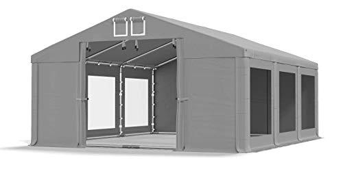 Das Company Transparente Fenster Partyzelt mit Bodenrahmen 3x6m wasserdicht grau Zelt 580g/m² PVC Plane Solide Gartenzelt Summer Floor SD