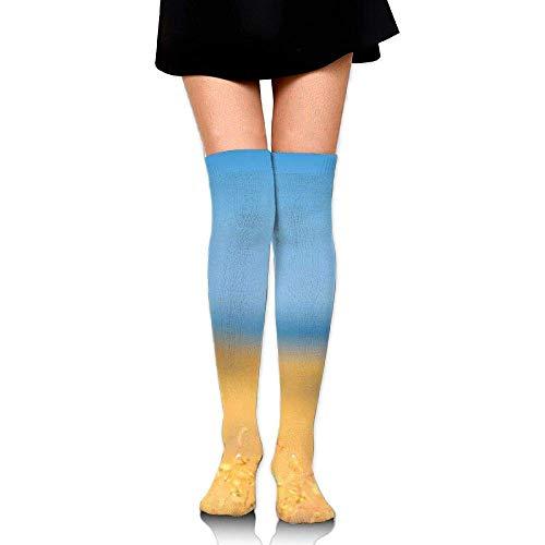 Kostüm Submarine Yellow - Gped Kniestrümpfe,Socken,Yellow Flower Fuzzy Field Casual Crew Top Socks,Tube Over Knee Nursing Compression Long Socks,3D Printed Sports for Girls&Women 50 cm