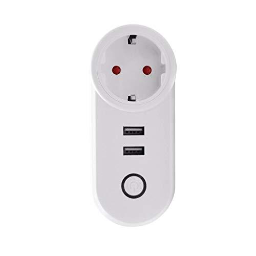Republe Dual USB Steckdose Fernbedienung WiFi Smart-Buchse Wireless-Timer-Stecker kompatibel mit Alexa für Google-Startseite -